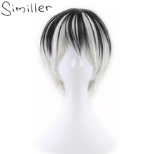 Similler Short Straight Men Synthetic Wigs Black Silver Mixed Color High Heat Resistant Fiber Cosplay Hair