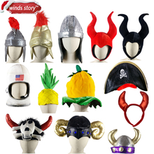 NEW American astronaut cap Adult Roman Soldier Warrior Gladiator Fancy Dress Costume Helmet Hat A variety of party carnival hats(China)
