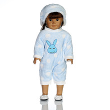Bunny Jumpsuit Cap Pajama Clothing For 18 inch Our Generation American Girl Doll toys for children brinquedos para as criancas(China)