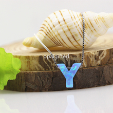1pc/lot Free Shipping High Quality 925 Silver Chain Necklace Synthetic Letter Y/G/H Light Blue op06 Opal Pendant Necklace gift(China)
