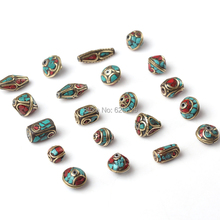 Buy 20pc/lot Tibet Silver Nepal Beads Red Coral Metal Inlay Copper Tibetan Charms DIY Jewelry Making Spacer Bead for $21.50 in AliExpress store