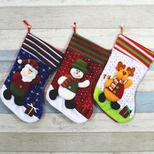 Christmas Santa Claus Snowman Stocking Candy Bags Christmas Socks Treat Gift Bags Pocket for Christmas Gift Party Decoration(China)