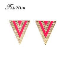 Pink Esmaltes Triangle Earrings Brincos For Women Designer Punk Stud Earrings for Women Fashion Designer Hot Selling Jewellery