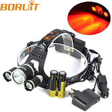 Boruit 8000LM XML T6+2 XPE Red LED Headlight 3 Modes Headlamp Head Lamp Light Powered by 18650 Charger for Hunting