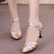 NEW Women Ladies Latin Satin Dance Shoes Ballroom Party Tango Salsa Dancing Heels Shoes Indoor Suede Sole