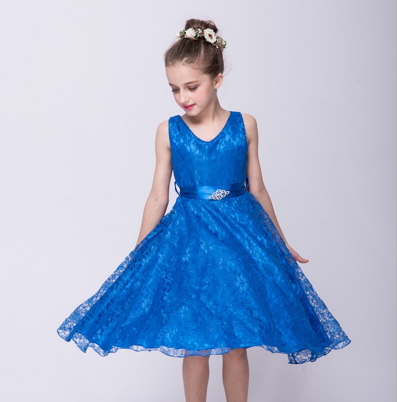 Flower Girl Dress 2017 Toddler Children Clothing Brand Kids Clothes for Girls Sleeve less Vintage Fashion Wedding Party 3 5 7 9Y<br><br>Aliexpress