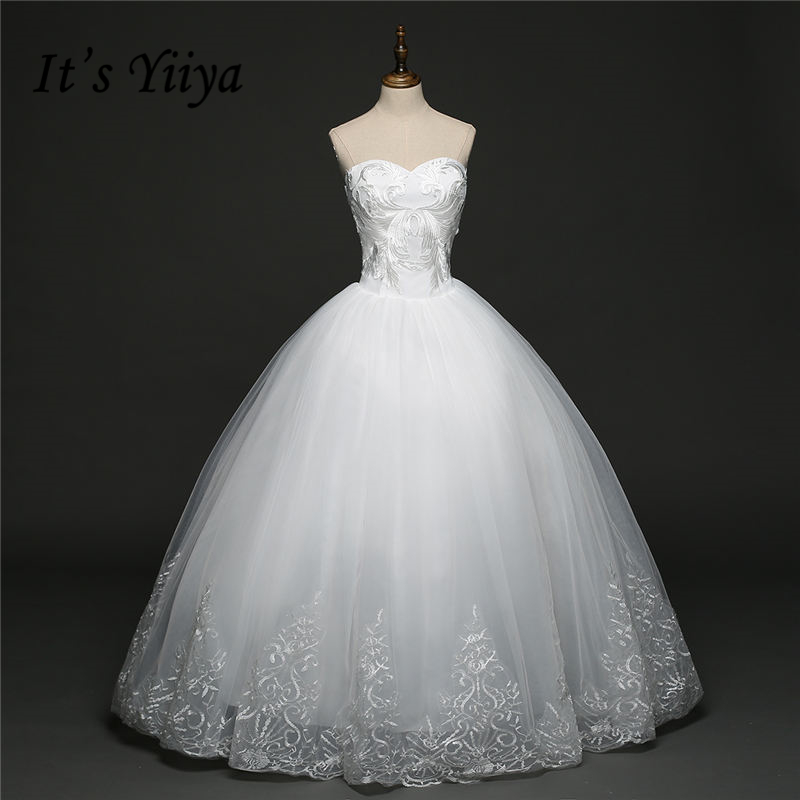 It's YiiYa White Sleeveless Strapless Hot Wedding Gowns Simple Pattern Floor Length Charming Fashion Wedding Frock HS275