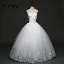 It's YiiYa Off White Sleeveless Strapless Hot Wedding Gowns Simple Pattern Floor Length Charming Fashion Wedding Frock HS275(China)