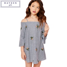 HAYDEN Girls Embroidery Dresses for Junior Kids Striped Off Shoulder Dress Girls Clothes 7 to 14 Years Teenagers Clothing Styles(China)