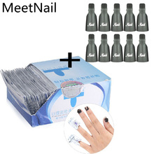 Nail cleaner 100 Pcs Gel Polish Remover Wraps +10pcs Plastic Gel Nail Polish Remover Soak Off Cap Clip Remover Nails Care tools