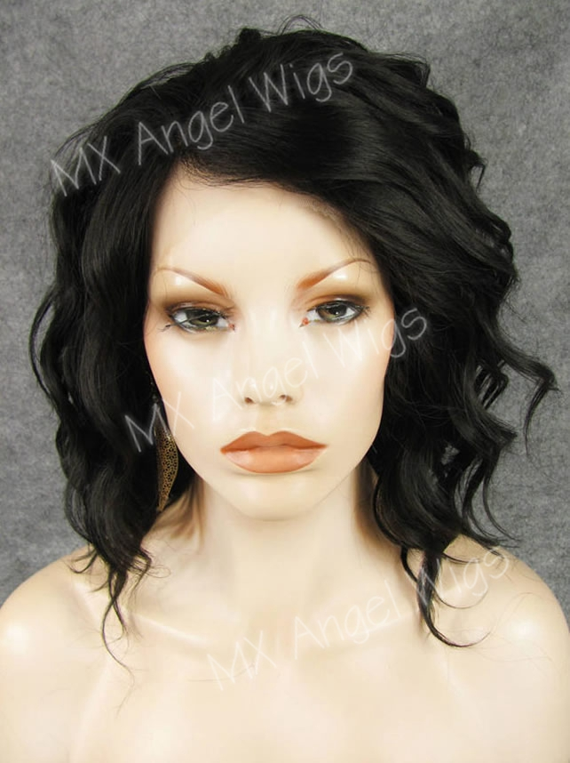 K17 Hot Sale14inch Fashion Curly Darkest Brown Color Synthetic Lace Front Wigs Heat Resistant Heavy Density kanekalon Lady Wigs<br><br>Aliexpress