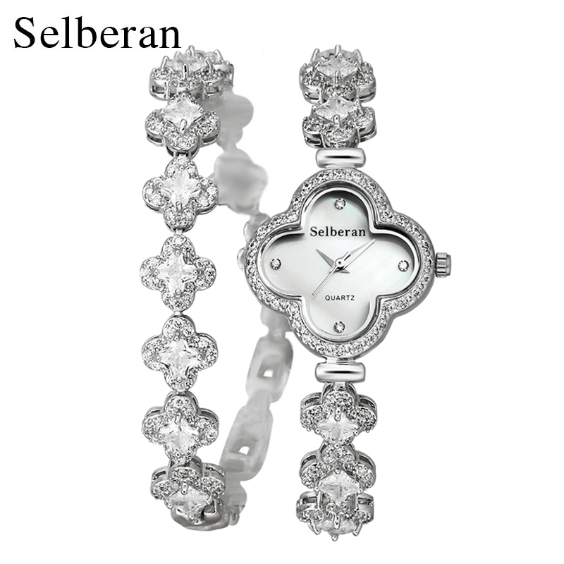 2016 Summer Collection Sapphire Crystal Clover Shape 50m Water Resistant 2 Round Bracelet Watch Women Casual Quartz Watch<br><br>Aliexpress