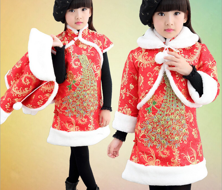 christmas dresses for girls new year winter jacket+ dress Plus Thick Velvet chinese style suit 2-5 Age girl dress child dress <br>