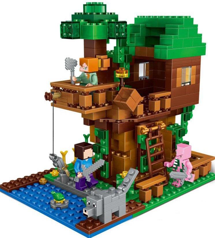 2017 Lepin 18009 Building Blocks scene series 406 pcs Minecrafted tree house brick scene series Steve mini Blocks Toy<br><br>Aliexpress