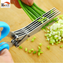 CUSHAWFAMILY Novelty 5 layers of stainless steel kitchen Chopped scallions scissors cut office shredding DIY craft scissors(China)