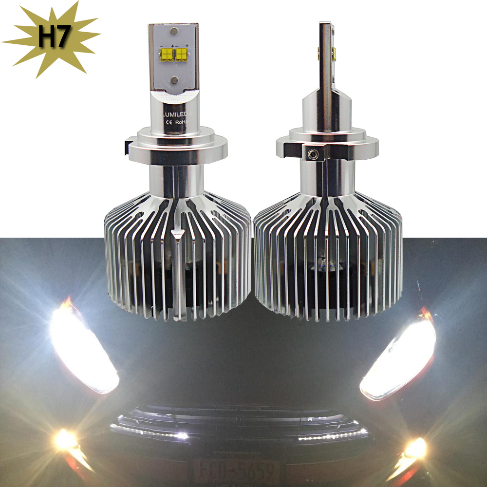 2x Car LED Headlight H7 9000LM with Lumileds Chips 5000K 90W Car Fog DRL Replace Light Source Driving Bulbs With Cooling Fans <br><br>Aliexpress
