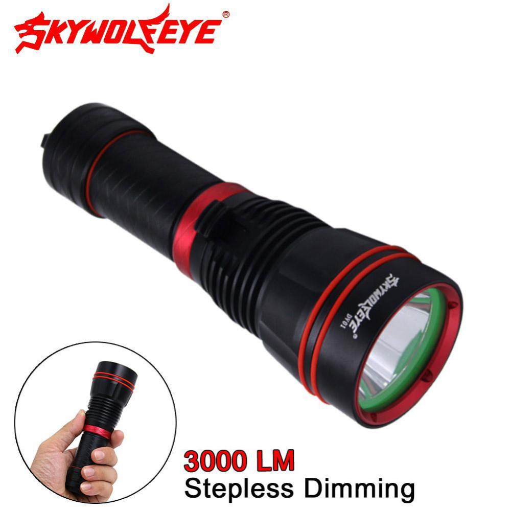 Cree XM-L2 U2 LED Flashlight 3000 Lumens Professional LED Diving Flashlight Underwater Distance Max to 200m Powerful Torch A609<br>
