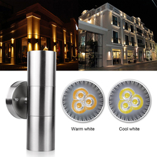Waterproof Stainless Steel Up Down LED Wall Light Fixtures IP65 Double Wall Lamp Outdoor Lighting GU10 Socket AC 85-265V(China)