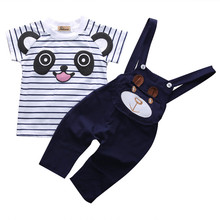 Summer 2017 Newborn Baby girl boy Clothes Summer Kids Sports Suit 2pcs pandaT-Shirt +stripe overalls children clothing Sets(China)