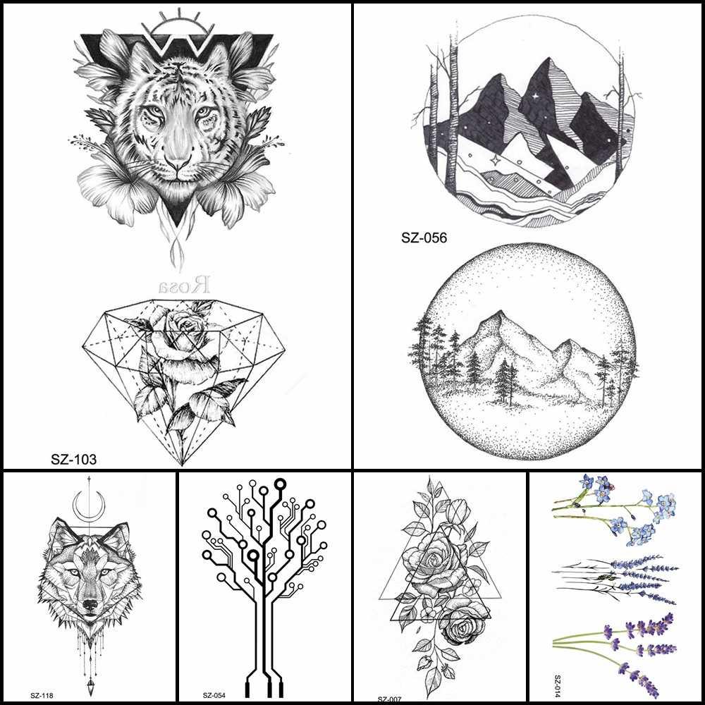 Detail feedback questions about fashion pencil sketch tattoo men stickers geometric temporary tattoo tiger diamond women arm fake tatoos round mountain
