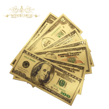 7Pcs/Set America Money Set Gold Banknote 1 2 5 10 20 50 100 Dollar Banknotes in 99.9% Gold Plated Fake Money For Collection(China)