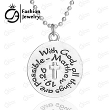 Wholesale With god all things are possible Matthew 19:26 Silver Plated Pendant Necklace Religious Catechism Gift 20Pc/Lot LN1233(China)