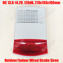 Outdoor Waterproof Wired Security Strobe Siren Sound Light 13.8-14.2V Red Flashlight Horn Speaker Intrusion Safety & Fire Alarm