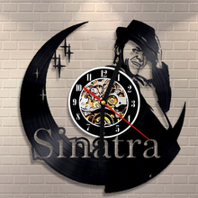 Free Shipping 1Piece Frank Sinatra Music Artist Vinyl Record Wall Clock Modern Design 3D Hanging Watches Gift Idea for Fans Art