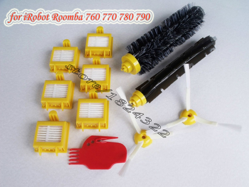 6 HEPA Filter +2 Side Brush +1 set Bristle Brush +1 cleaning tool for iRobot Roomba 700 replacement parts 760 770 780(China (Mainland))