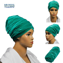 2018 Fashion Winter Velvet African Headties Sego Gele Head Tie for Women Green Red Blue Solid Plain Headscarf Headwear XH01(China)