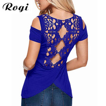 Rogi Summer Sexy Off Shoulder T-Shirt For Women 2017 Casual Solid O-Neck Harajuku Tee Tops Lace Crochet T Shirt Camisetas Mujer