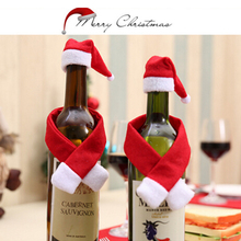 2PCS/Set Christmas Wine Bottle Cover Hat Scarf Bottle Wrap Party Decor Christmas Decorations Wholesale