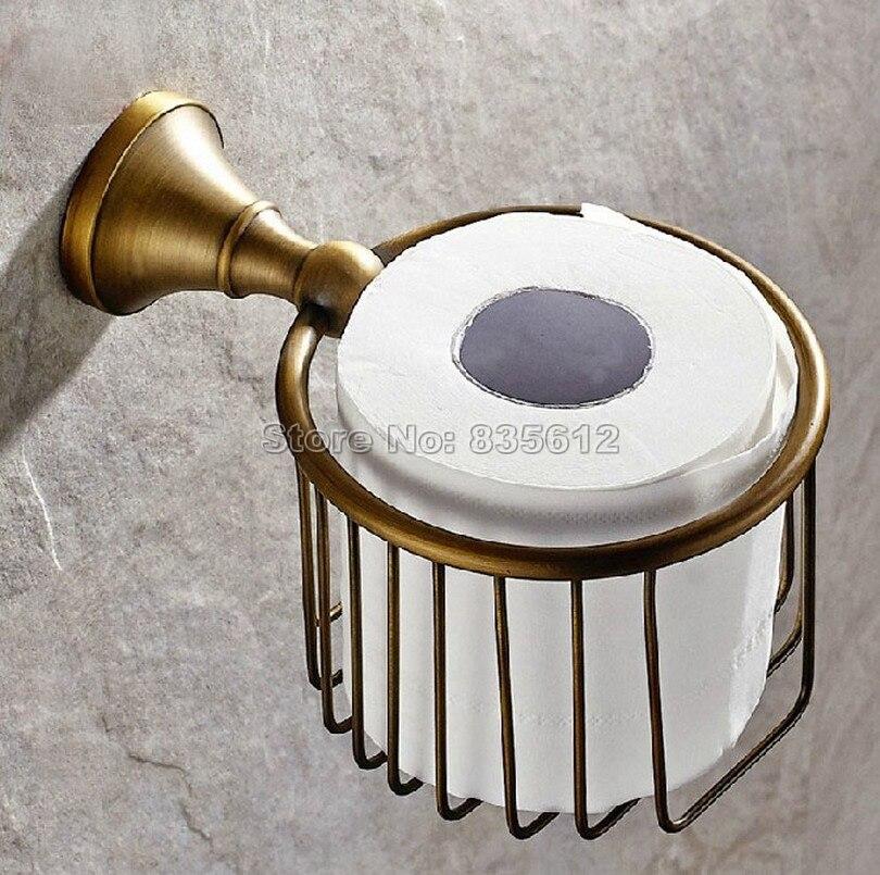 Antique Brass Wall Mounted Bathroom Toilet Paper Roll Holder Basket Wba148<br><br>Aliexpress