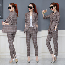 Spring and Autumn new women's fashion plaid suit suits female Korean version of the nine pants temperament two-piece suit(China)