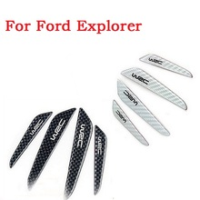 4Pcs/set New arrival Car Rearview Mirror Side Bumper Red Silicone Anti-rub Door Edge Strips for ford Explorer