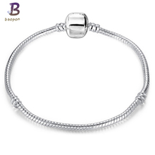 BAOPON High Quality Vintage Silver plated pandora Bracelet European Style Snake Chain Fit DIY Charm Bracelets Jewelry BAC058