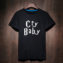 Cry Baby Funny Summer Letter Printed T-shirt Male Tshirt Men Tee Shirts Anime Hip Hop Skate Geek wear Black Streetwear(China)