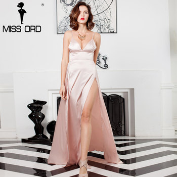 Missord 2017 sexy cuello en v sin mangas backless dos dividir maxi dress ft8182