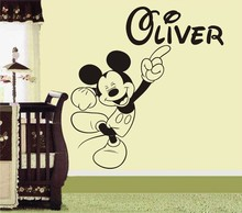 Mickey Mouse Personalised Name Wall Art Sticker Decoration Decals Wall Stickers For Kid's Rooms Bedroom Products DIY