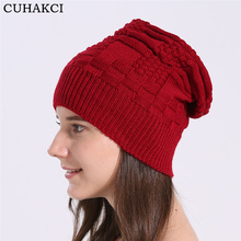 CUHAKCI Unisex Skullies Winter Hat Warm Female Men Wool Knitted Hats Women Beanies Thick Casual Beanies Red Winter Cap Black(China)