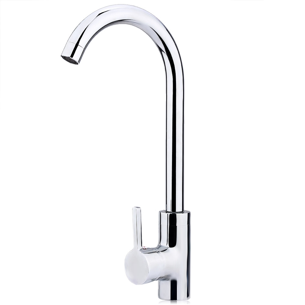 New Modern Design Household Faucet Tap Copper Chrome Rotatable One Hole Single Handle Kitchen Faucet Cold Hot Water Mixer Tap<br>