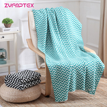 ZYFMPTEX New 2017 Wave Pattern Knitted Blanket Imitation Cashmere Double Sided Use Office Sofa Blanket For Bed 130*170cm(China)
