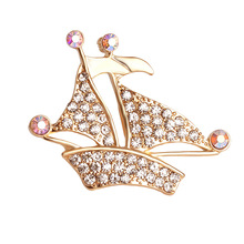 2016 Fashion Luxury Gold Color Sailboat Brooch Female Rhinestone Brooches Wholesale 12pcs/lot Size 3.8*4cm