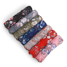 BQacces new fashion women floral flower print viscose scarves lady spring thin air voile scarf shawl wraps female muslim hijab(China)
