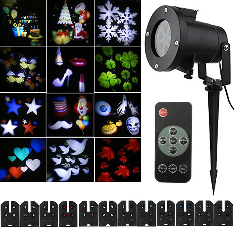 12 Pattern Waterproof Laser Projector Lamps Christmas Halloween Party LED Stage Light Outdoor Landscape Lawn Garden Light lamp<br>