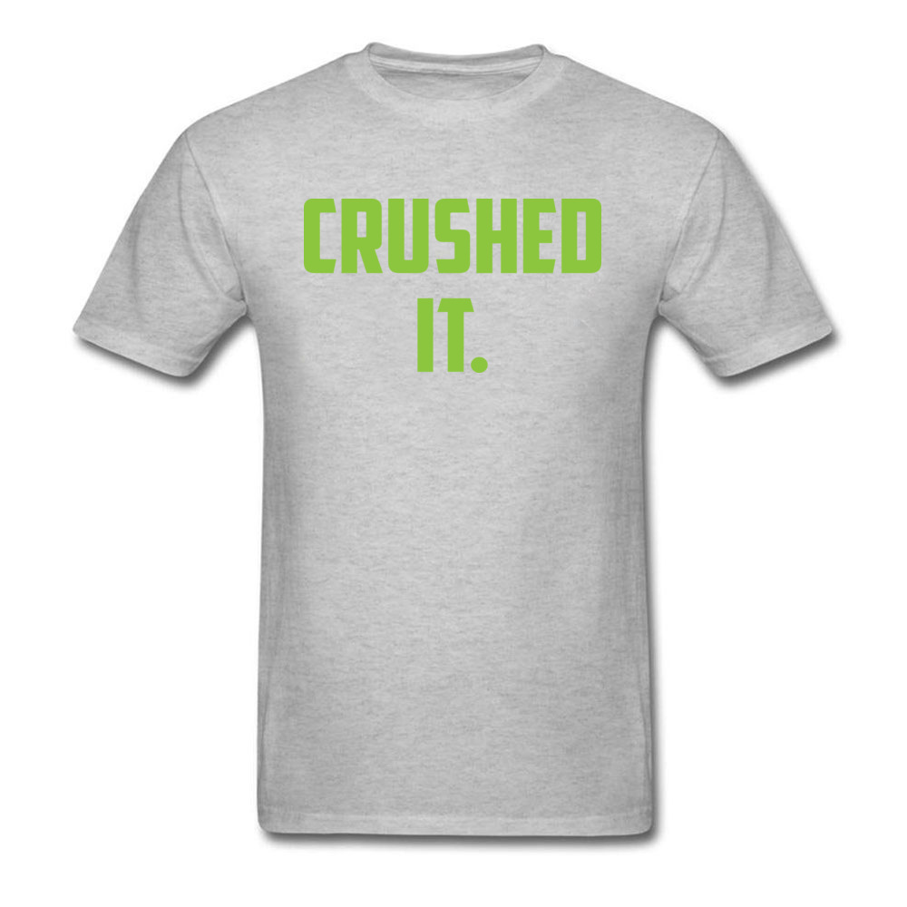 Crushed It Summer T-Shirt for Men Pure Cotton Labor Day Tops Tees Print Tee Shirt Short Sleeve Retro Round Neck Crushed It grey