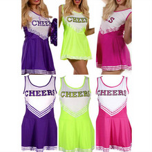 DJGRSTER Girls Cheerleader Costume Hight School Girl Musical Cheerleading Uniform Fancy Dress Sleeveless Mini Dress Outfit S-XXL