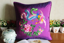 45*45cm Chinese Handmade embroidered Phonex and Peony Purple Silk Cushion Cover without interior for home decoration
