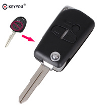 KEYYOU Modified 3 Buttons Flip Folding Remote Car Key Shell Case For Mitsubishi Lancer Outlander Uncut Right Blade