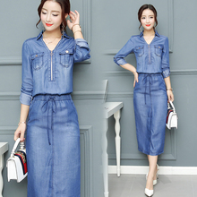 Buy 2018 Summer Dress Women Denim dresses Washed Blue Female Long Sleeve Jeans Dress Casual Ziper V Neck Slim Waist Spring Clothing for $20.40 in AliExpress store